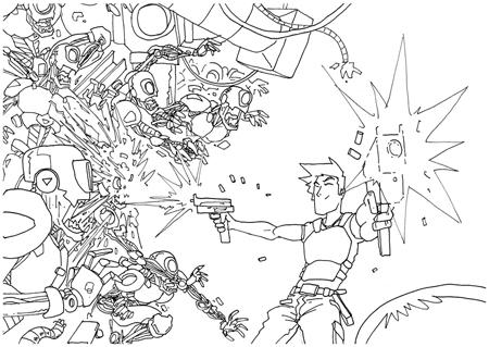 Menembak robot zombie